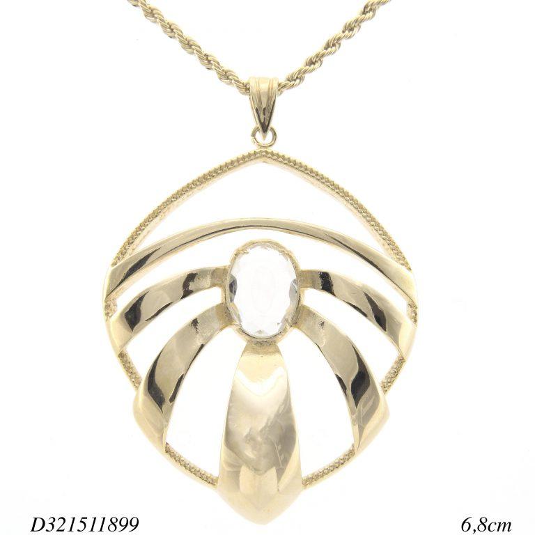Colar pingente folha vazada com cristal oval GG-0