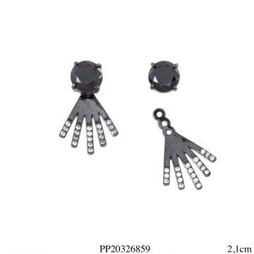 Brinco luxo Ear Jacket ponto de luz zircônia negra e leque de zircônia branca com banho de ródio negro-0