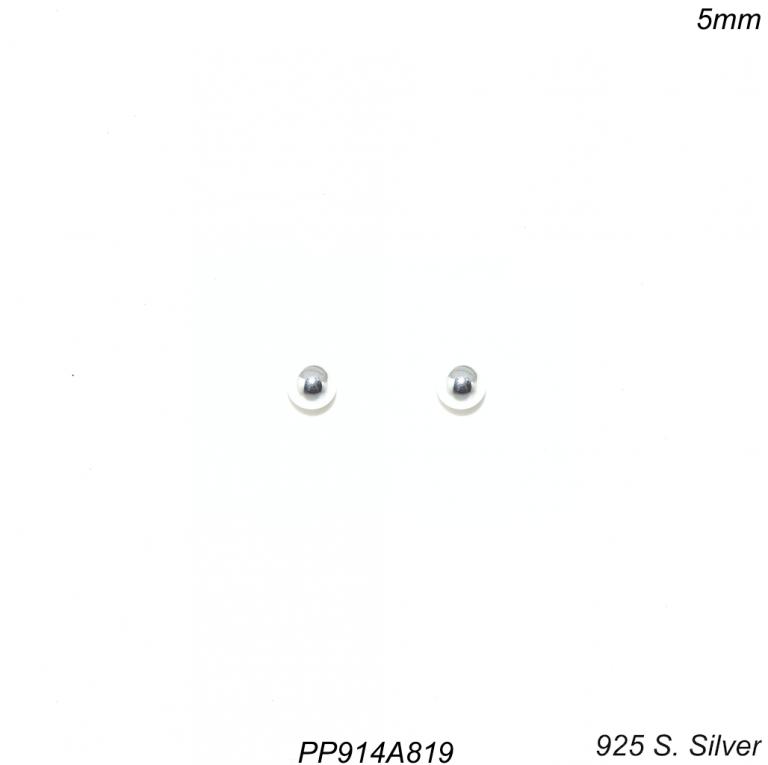 Brinco prata 925 ponto de luz bola 5mm-0