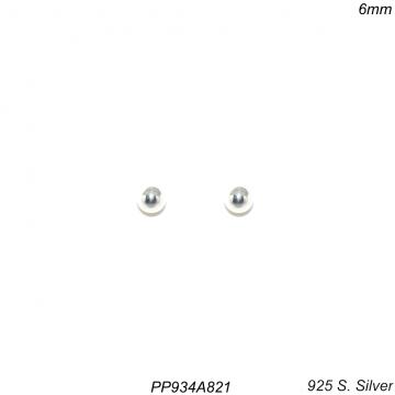 Brinco prata 925 ponto de luz bola 6mm-0