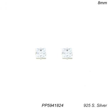 Brinco prata 925 ponto de luz quadrado zircônia branca 8mm-0