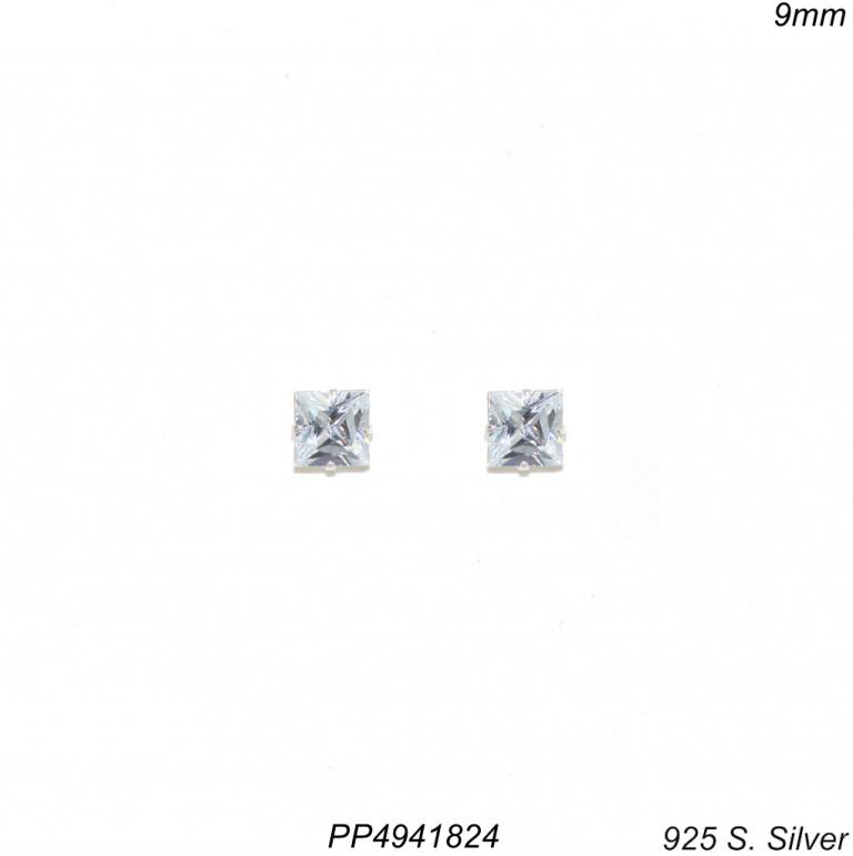 Brinco prata 925 ponto de luz zircônia branca quadrada 9mm-0