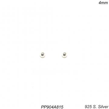 Brinco prata 925 ponto de luz bola 4mm-0