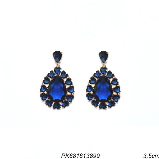 Brinco luxo gota com cristais de coração e gota azul-0