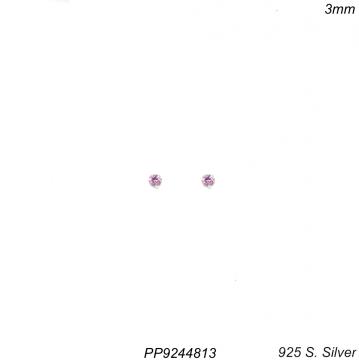 Brinco prata 925 ponto de luz de zircônia rosa-0