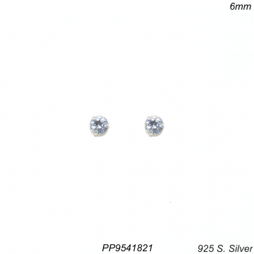 Brinco prata 925 ponto de luz de zircônia branca 6mm-0