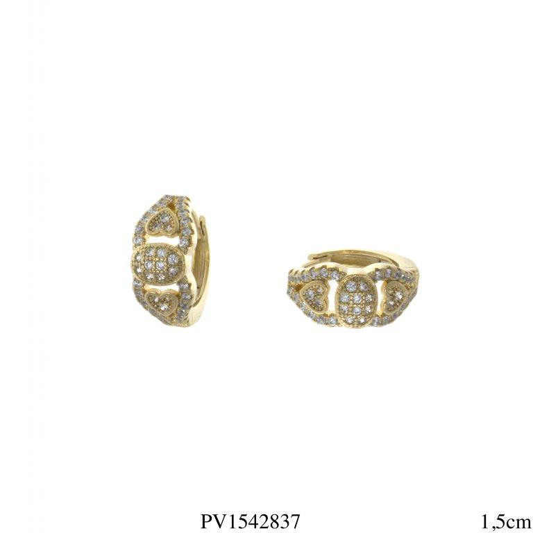 Argola luxo corações com micro zircônia branca em banho de ouro 18k-0