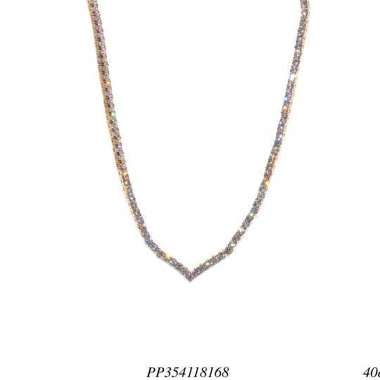 Colar riviera luxo em V zircônia branca 40cm-0