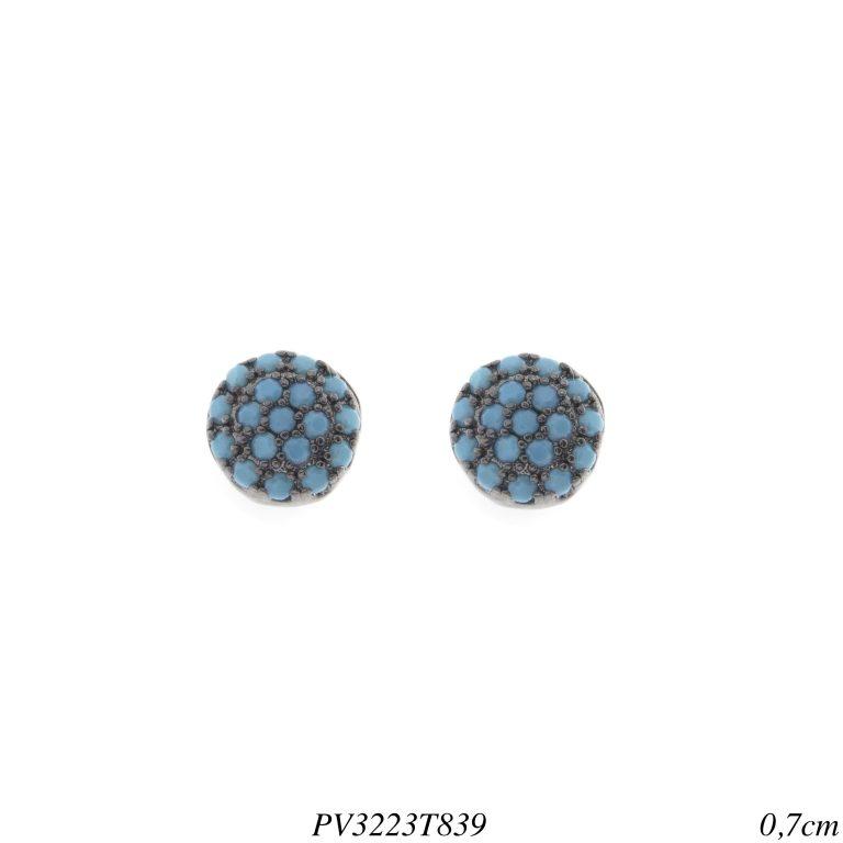 Brinco luxo ponto de luz pavê zircônia nano turquesa em banho de ródio negro -0