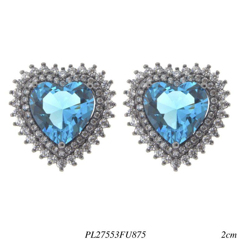 Brinco luxo coração G zircônia branca e azul fusion em banho de ródio negro-0