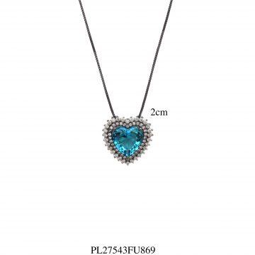 Colar luxo coração G zircônia branca e azul fusion em banho de ródio negro-0