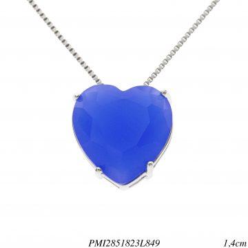Colar luxo coração de cristal azul leitoso em banho de ródio-0