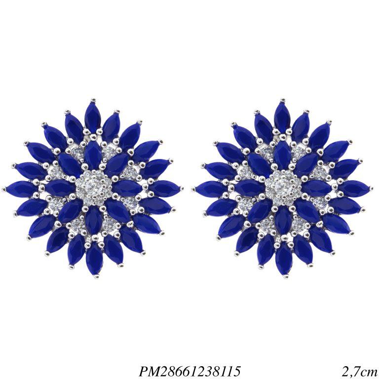 Brinco luxo Flower navete de zircônia azul G em banho de ródio -0