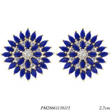 Brinco luxo Flower navete de zircônia azul G em banho de ouro 18k-0