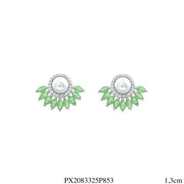 Brinco luxo mini leque navete de zircônia verde e branca com pérola em banho de ródio-0