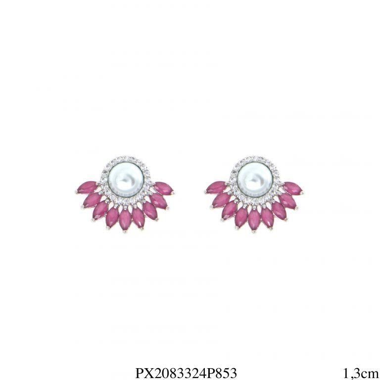 Brinco luxo mini leque navete de zircônia rosa pink e branca com pérola em banho de ródio-0