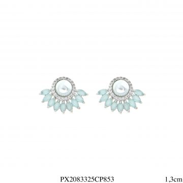 Brinco luxo mini leque navete de zircônia azul céu e branca com pérola em banho de ródio-0
