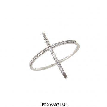 Anel luxo X com zircônia branca em banho de ródio-0