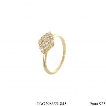 Anel prata 925 luxo com losango de zircônia branca em banho de ouro 18k-0
