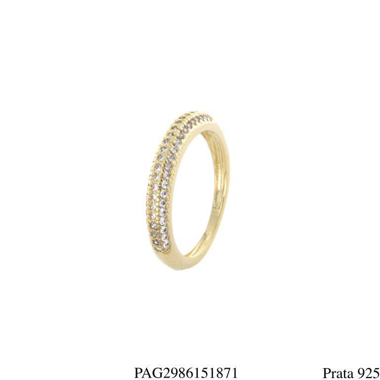 Meia aliança prata 925 luxo zircônia branca em banho de ouro 18k-0