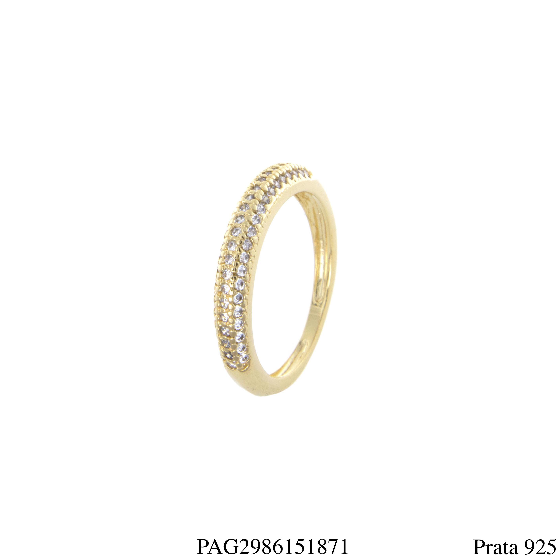 815fa2b6cc271 Meia aliança prata 925 luxo zircônia branca em banho de ouro 18k ...