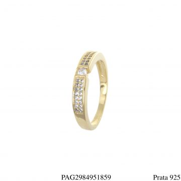 Meia aliança luxo prata 925 de zircônia branca em banho de ouro 18k-0