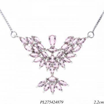 Colar luxo delicado Espírito Santo P com zircônia rosa em banho de ródio-0