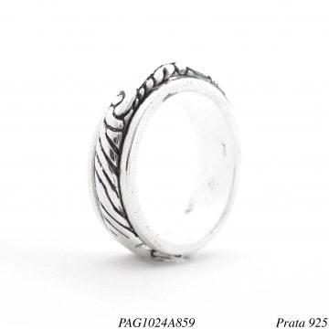 Anel prata 925 giratório detalhado com curvas-0
