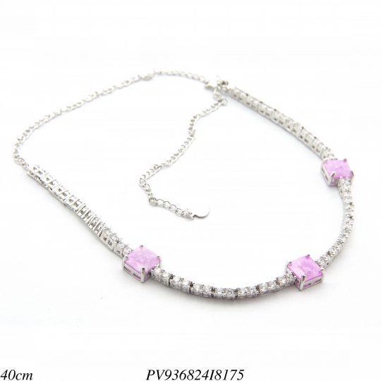 737a72827646e 7% Gargantilha Choker luxo riviera com zircônia branca e rosa ice em banho  de ródio-8314 ...