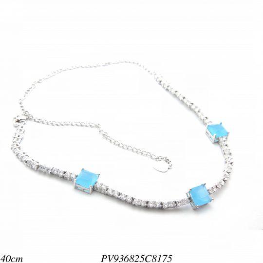 b6e0bf05c134f 7% Gargantilha Choker luxo riviera com zircônia branca e azul céu em banho  de ródio-8318 ...