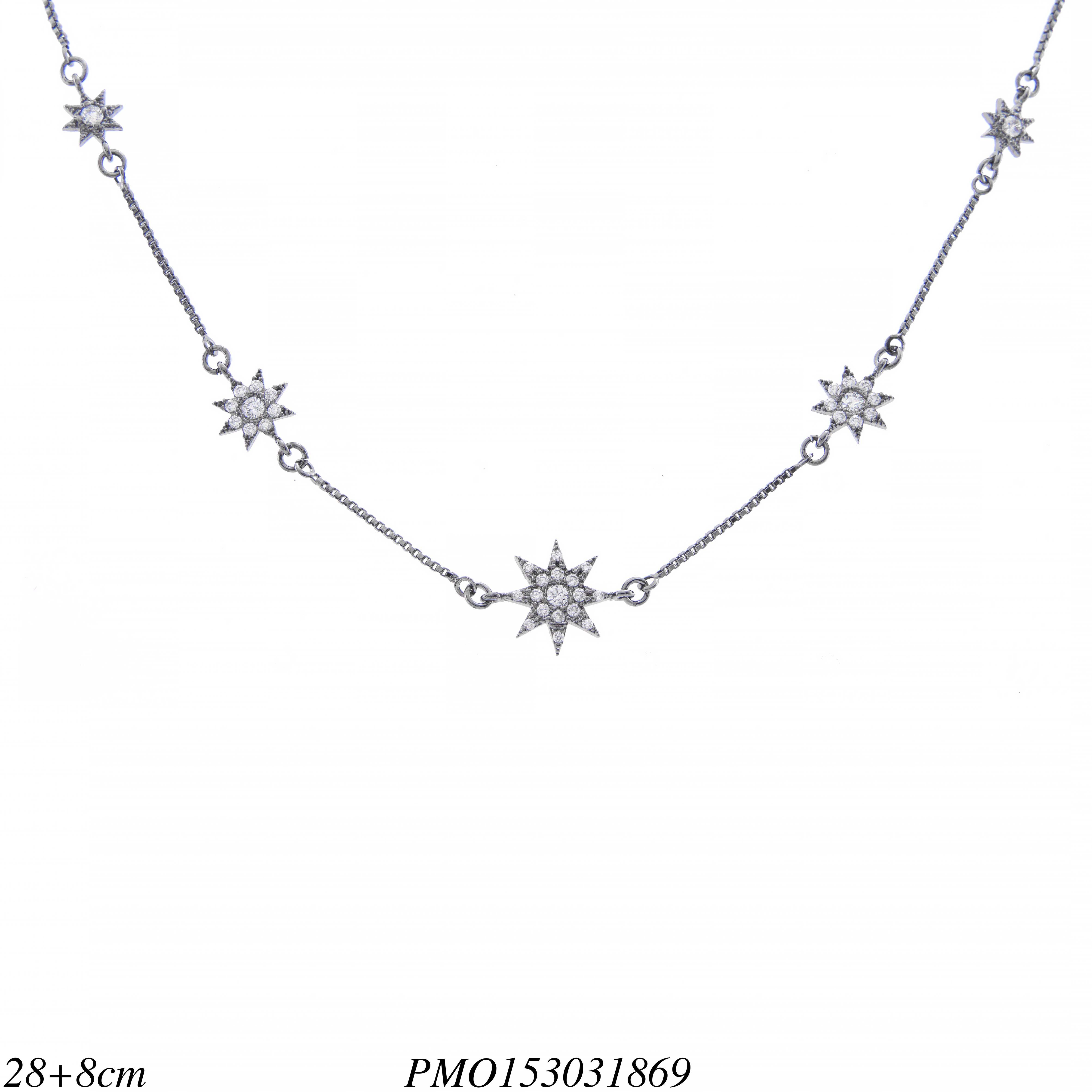 addf3ed39e363 Choker luxo Star com zircônia branca em banho de ródio negro ...