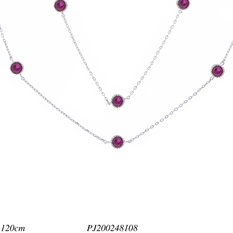 Colar réplica 2 voltas ponto de luz de zircônia rosa pink em banho de ródio- cccc57d42c