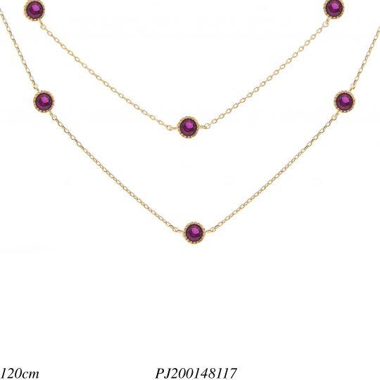 Colar réplica 2 voltas ponto de luz de zircônia rosa pink em banho de ouro  18k d53ad0bd1f