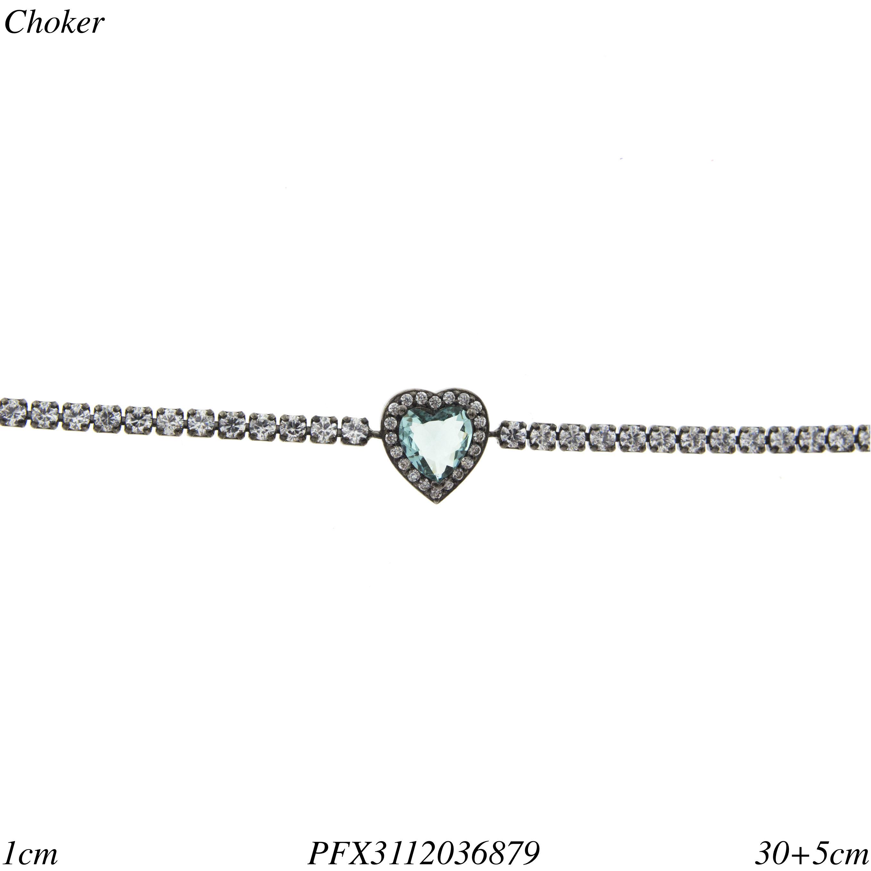 84c4eb16e479c Choker luxo riviera com coração de zircônia branca e água marinha em banho  ródio negro-