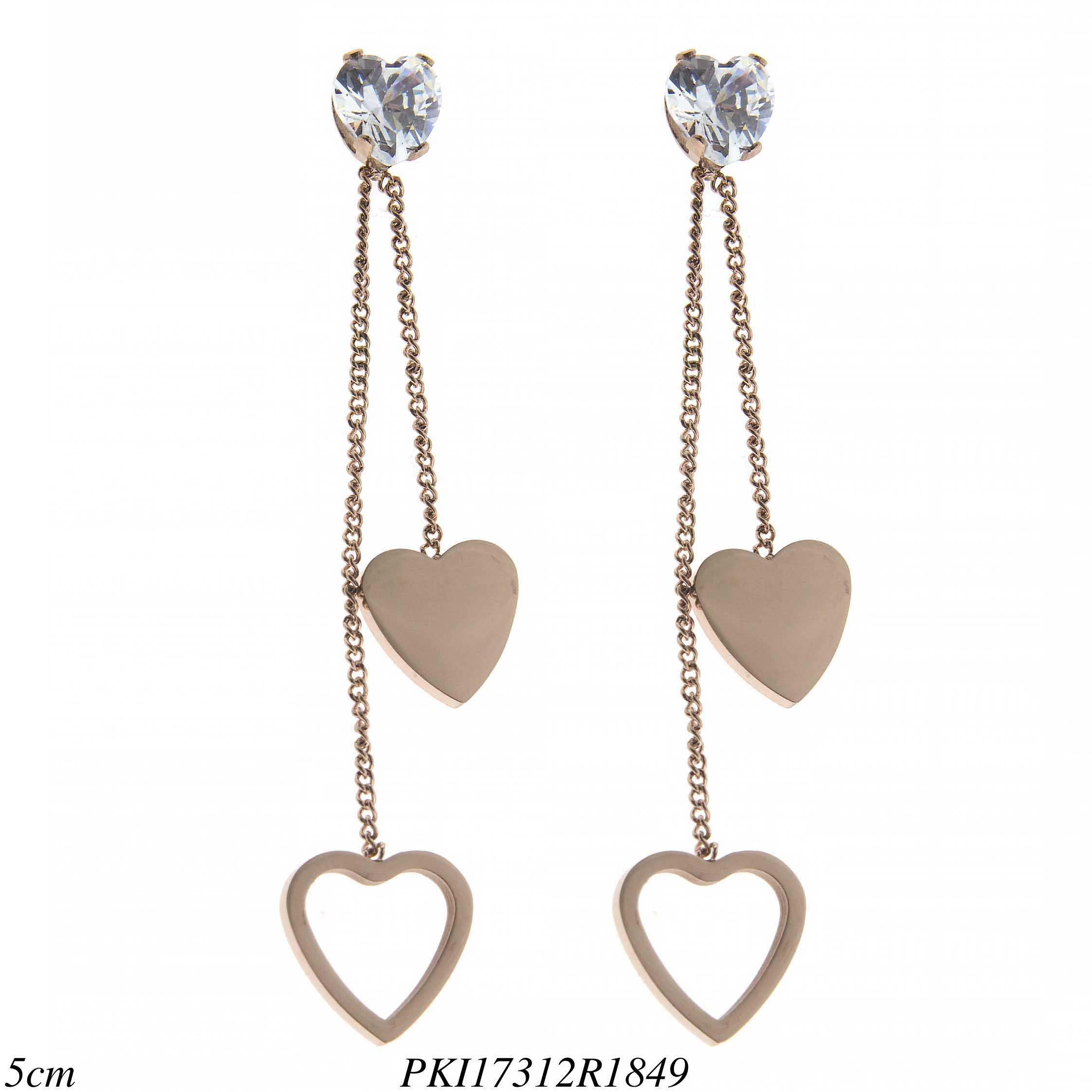 9b6c8aca92ed5 Brinco luxo aço com corrente e ponto de luz de coração em banho de ouro rosé