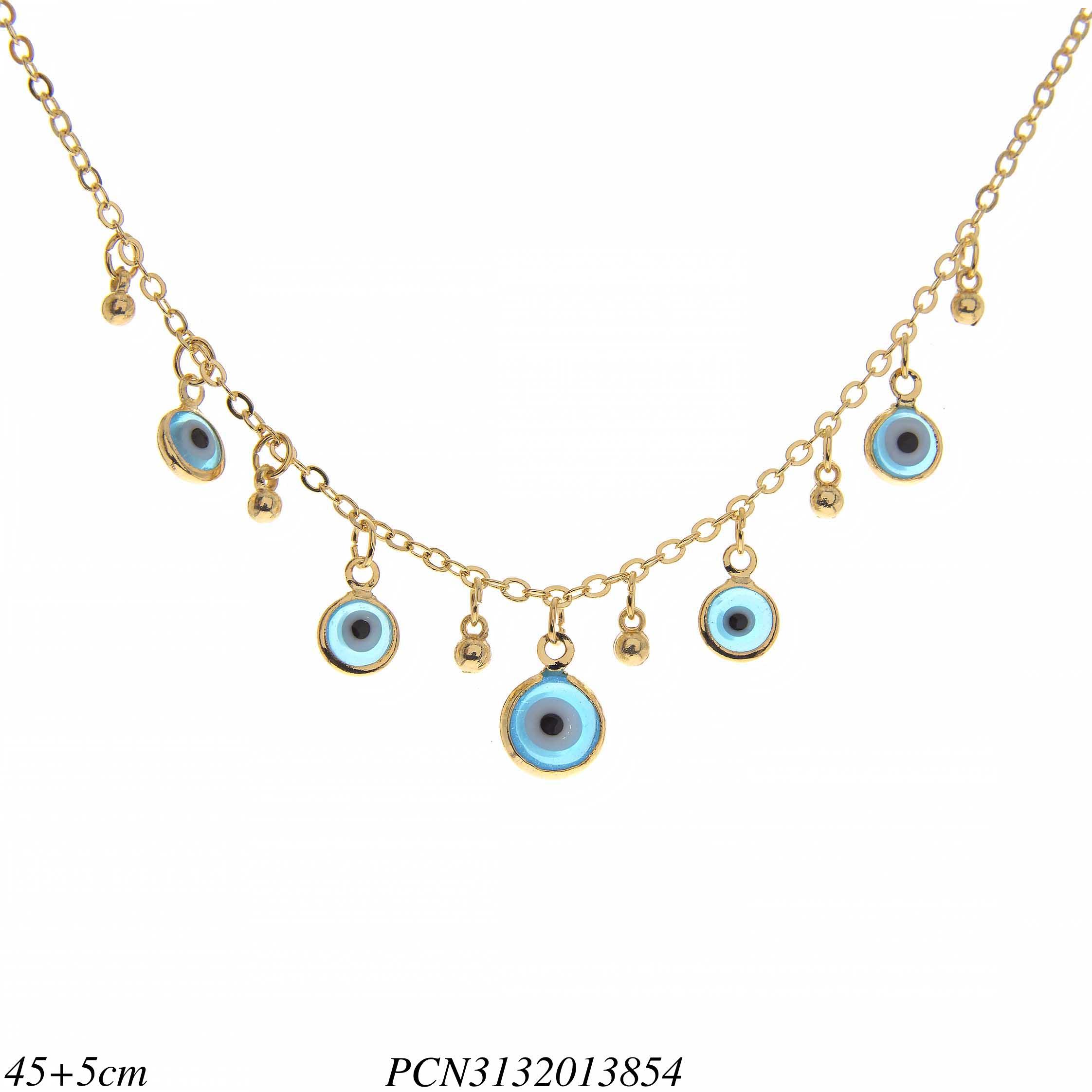 bda5d85224082 Colar luxo com franja de olho grego e pingente em banho de ouro 18k ...