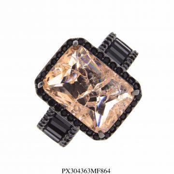 Anel super luxo Vênus com zircônia negra e morganita fusion AA em banho de ródio negro-0