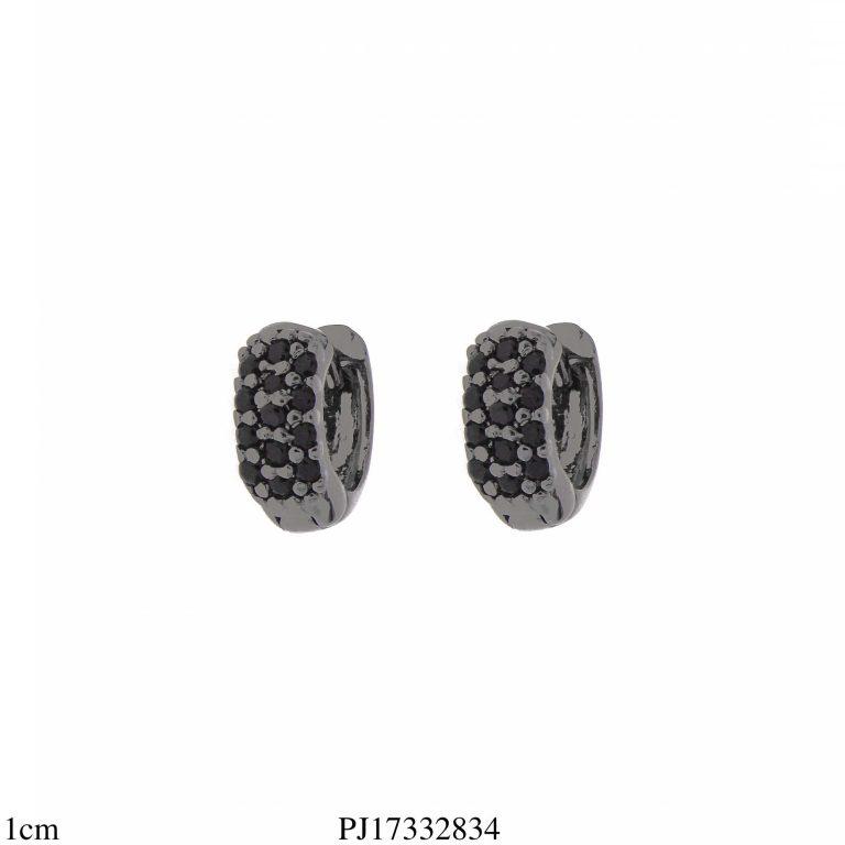 Argola luxo segundo furo de zircônia negra em banho de ródio negro-0