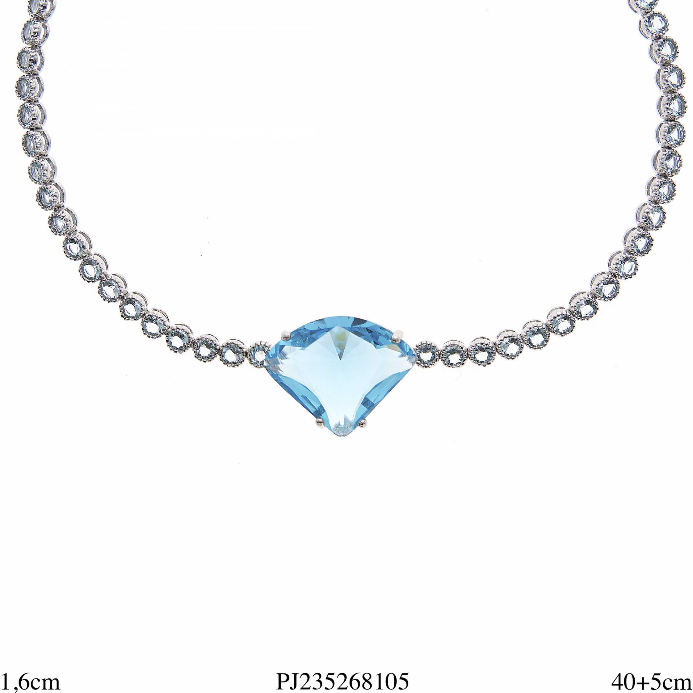 fa1c3158a5f40 Gagantilha 40cm super luxo Diamond com corrente riviera água marinha em  banho de ródio-0
