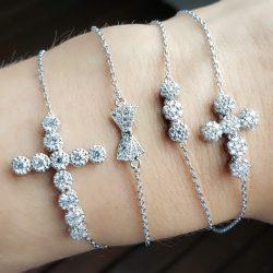 pulseiras em rodio branco