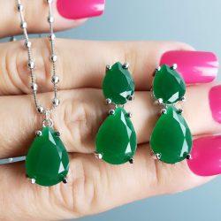 Colar gota com zircônia verde esmeralda em banho de ródio branco
